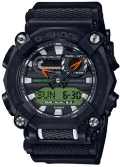 Analog-Digital Black Reflective Resin Strap Watch 49.5mm