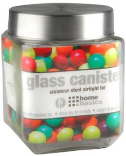 40-Oz. Square Glass Canister with Brushed Stainless Steel Screw-on Lid