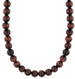 Red Tiger's Eye Bead Necklace in .925 Sterling Silver
