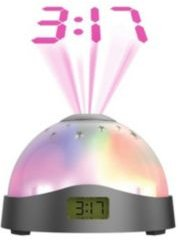 Aura Led Projection Clock: Compact Alarm Clock with Vibrant Lcd Time and Moon & Stars Display