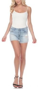 Mid-Rise Ripped Denim Shorts