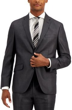 Techni-Cole Charcoal Suit Separate Slim-Fit Jacket