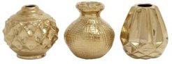 Small, Round Metallic Pots with Textural Finishes, Set of 3