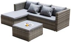 Outdoor Patio Garden Contemporary Sectional Sofa with Cushion and Ottoman and Coffee Table