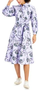 Petite Cotton Printed Shirtdress, Created for Macy's