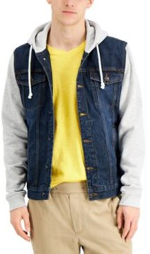Rose Mix-Media Hooded Trucker Jacket, Created for Macy's