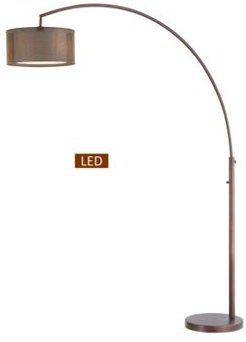 """Elena Iv 81"""" Double Shade Led Arched Floor Lamp with Dimmer"""