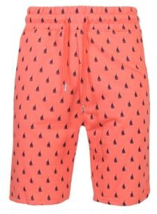 Slim Fit French Terry Printed Shorts with Contrasting Sail Boat Design