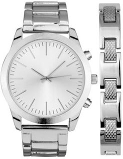 Inc Men's Brushed Silver-Tone Bracelet Watch 46mm Gift Set, Created for Macy's