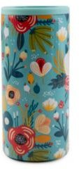 by Cambridge 12 oz Turquoise Floral Insulated Slim Can Cooler