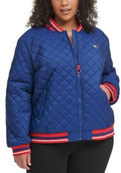 Sport Plus Size Quilted Zip-Up Bomber Jacket