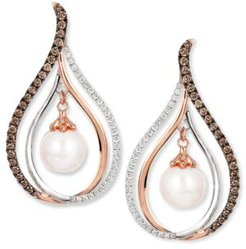 Chocolatier Fresh Water Pearl (8mm) and Diamond (7/8 ct. t.w.) Drop Earrings in 14k White and Rose Gold