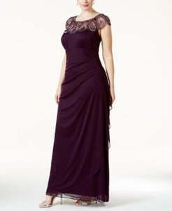 Plus Size Illusion Beaded Gown