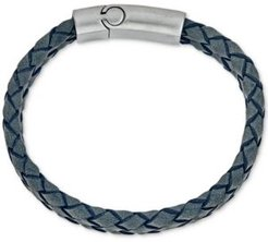 Gray Leather Bracelet in Stainless Steel, Created for Macy's