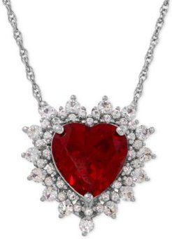 Lab-Created Ruby (4 ct. t.w.) and White Sapphire (1 ct. t.w.) Heart Pendant Necklace in Sterling Silver