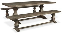 Tristan Trestle Dining Furniture, 3-Pc. Set (Trestle Dining Table & 2 Benches), Created for Macy's