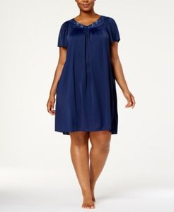 Plus Size Tricot Flutter Sleeve Short Gown