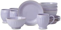 French Perle Groove Lilac 12-Pc. Dessert Set Service For 4, Created for Macy's