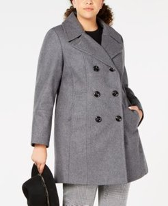 Plus Size Double-Breasted Peacoat, Created for Macy's