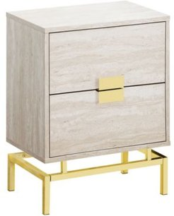 Gold Metal 24'H Night Stand Accent Table in Beige Marble