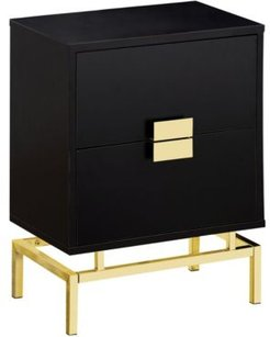 """Gold Metal 25""""H Side Night Stand Accent Table in Cappuccino"""