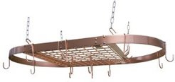 Copper Plated Oval Ceiling Pot Rack