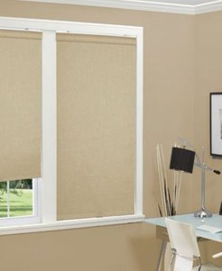 """Cordless Linen Look Thermal Fabric Roller Shade, 72""""x66"""""""