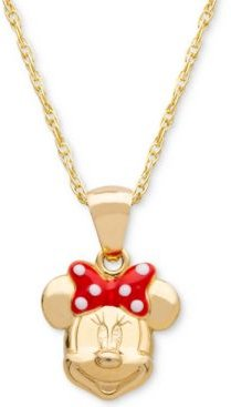 """Children's Minnie Mouse 15"""" Pendant Necklace with Enamel Bow in 14k Gold"""