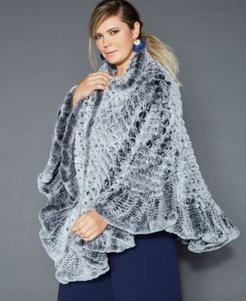 Plus Size Knitted Rabbit Fur Poncho
