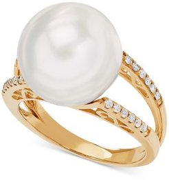 White Cultured Ming Pearl (13mm) & Diamond (1/8 ct. t.w.) Ring in 14k Gold