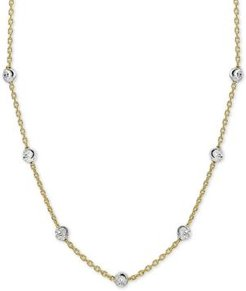 """Beaded Station Chain Necklace in 18k Gold-Plated Silver, or 18k Rose Gold-Plated Silver 18"""" + 2"""" extender, Created for Macy's"""