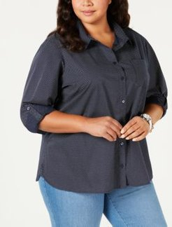 Plus Size Roll-Tab Button-Up Shirt, Created for Macy's