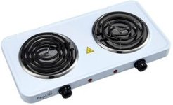 Electric Easily Portable Ultra Lightweight Dual Coil Burner Cooktop Buffet Range in White
