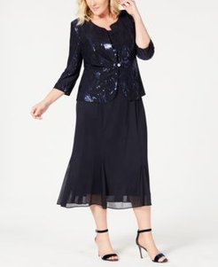 Plus Size Sequined Chiffon Dress and Jacket