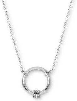 """Circle Pendant Necklace in Sterling Silver, 16"""" + 2"""" extender"""