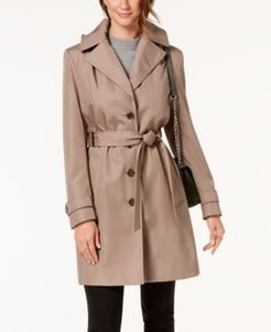 Petite Belted Hooded Water Resistant Trench Coat, Created for Macys