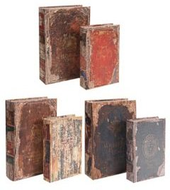 Antique Multi-Colored Book Boxes, Set of 6