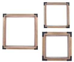 Danya B. Rustic Pine Wall Cubes with Black Metal Accents (Set of 3)