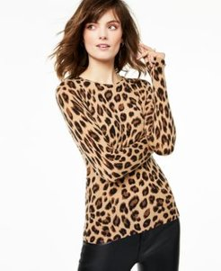 Cashmere Animal-Print Crewneck Sweater, Created for Macy's