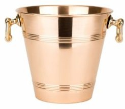 International Solid Copper Wine Cooler with Brass Handles, 4.75-Quart