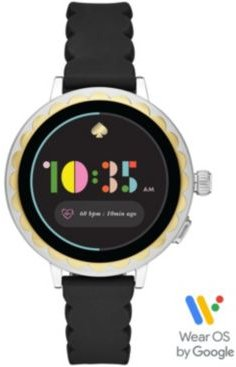 Scallop Black Silicone Strap Touchscreen Smart Watch 41mm, Powered by Wear Os by Google
