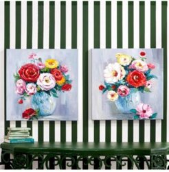 Roses in Bloom Set of 2 Hand-Painted Wall Art (gallery edge) - Canvas/Wood