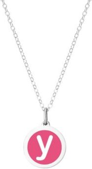 """Mini Initial Pendant Necklace in Sterling Silver and Hot Pink Enamel, 16"""" + 2"""" Extender"""