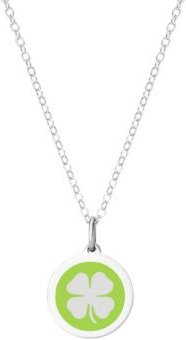 """Mini Clover Pendant Necklace in Sterling Silver and Enamel, 16"""" + 2"""" Extender"""