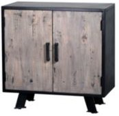 Villa 2 Cosmopolis Solid Wood Iron Chest Cabinet with 2 Inner Shelves