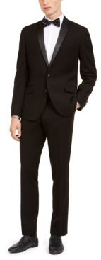 Slim-Fit Performance Stretch Black Tonal Houndstooth Tuxedo