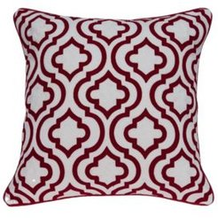 Nilam Transitional Red and White Pillow Cover With Down Insert