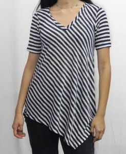 1804 Womens Stripe V-Neck Asymmetric T-Shirt