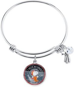 Unwritten Astronaut Snoopy Fine Silver Plated Charm Bangle Bracelet Silver Plated