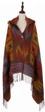 Muted Earth-Tone Poncho with 2 Button Closure, Tassels